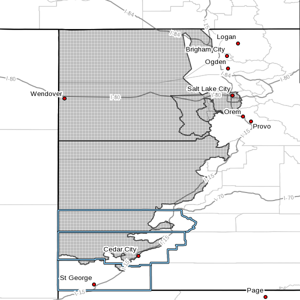 Dots denote area subject to a wind advisory issued by the National Weather Service for the period from 6 p.m. Saturday to 6 p.m. Sunday, Utah, March 5, 2016, 6:20 a.m. radar time | Image courtesy of NWS, St. George News | Click on image to enlarge