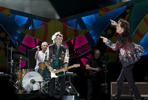 Mick Jagger, right, of the The Rolling Stones performs as Keith Richards plays the guitar and Charlie Watts plays the drums, in Havana, Cuba, Friday March 25, 2016 | AP Photo by Enric Marti, St. George News