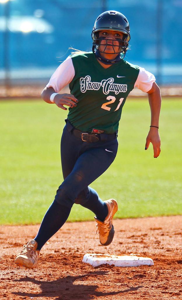 Snow Canyon's Sonya Hardy (21), Dixie vs. Snow Canyon, Softball, St. George, Utah, Mar. 30, 2016, | Photo by Robert Hoppie, ASPpix.com, St. George News