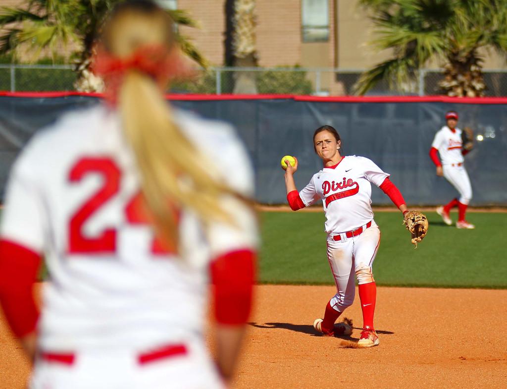 Dixie State's  Josey Hartman (15), Dixie State University vs. Hawai'i Hilo University, Softball, St. George, Utah, Mar. 30, 2016, | Photo by Robert Hoppie, ASPpix.com, St. George News