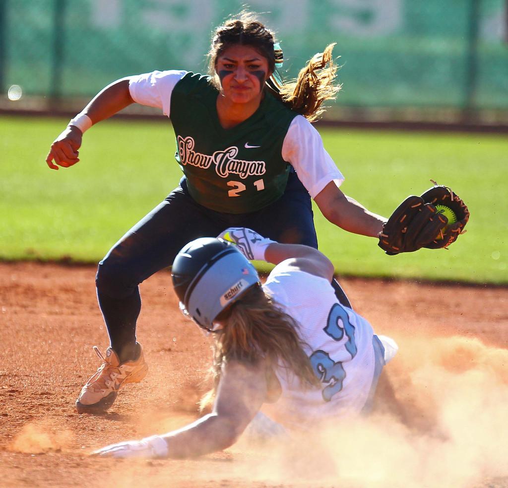 Snow Canyon's  Sonya Hardy (21), Snow Canyon vs. Sky View, Softball, St. George, Utah, Mar. 10, 2016, | Photo by Robert Hoppie, ASPpix.com, St. George News