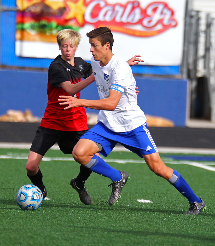 Dixie's  Tyler Bennett (8), Dixie vs. Alta, Boys Soccer, St. George, Utah, Mar. 11, 2016, | Photo by Robert Hoppie, ASPpix.com, St. George News