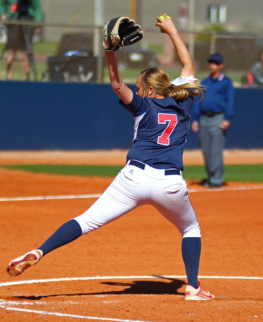 Dixie State's Aryn Feickert (7) pitched a no-hitter, Dixie State University vs. Chaminade University, Softball, St. George, Utah, Mar. 23, 2016, | Photo by Robert Hoppie, ASPpix.com, St. George News