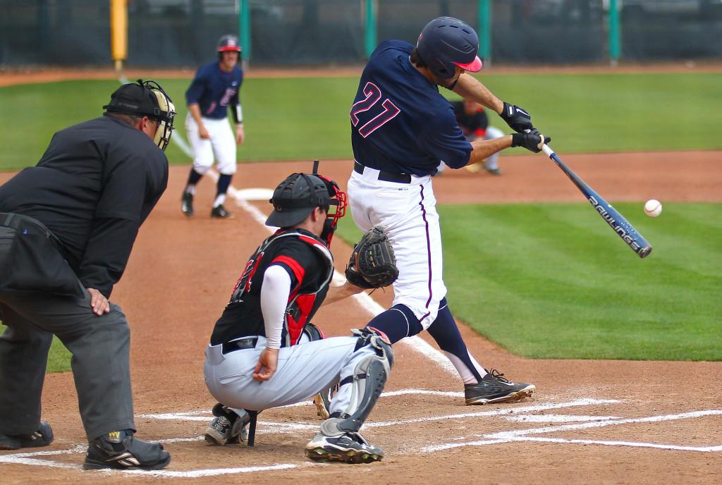 Dixie State's  Ryan Rodriguez (27), Dixie State University vs. Hawai'i Hilo University, Baseball, St. George, Utah, Mar. 28, 2016,   Photo by Robert Hoppie, ASPpix.com, St. George News