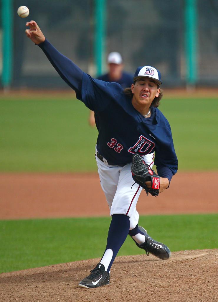 Dixie State's  Dylan File (33), Dixie State University vs. Hawai'i Hilo University, Baseball, St. George, Utah, Mar. 28, 2016, | Photo by Robert Hoppie, ASPpix.com, St. George News