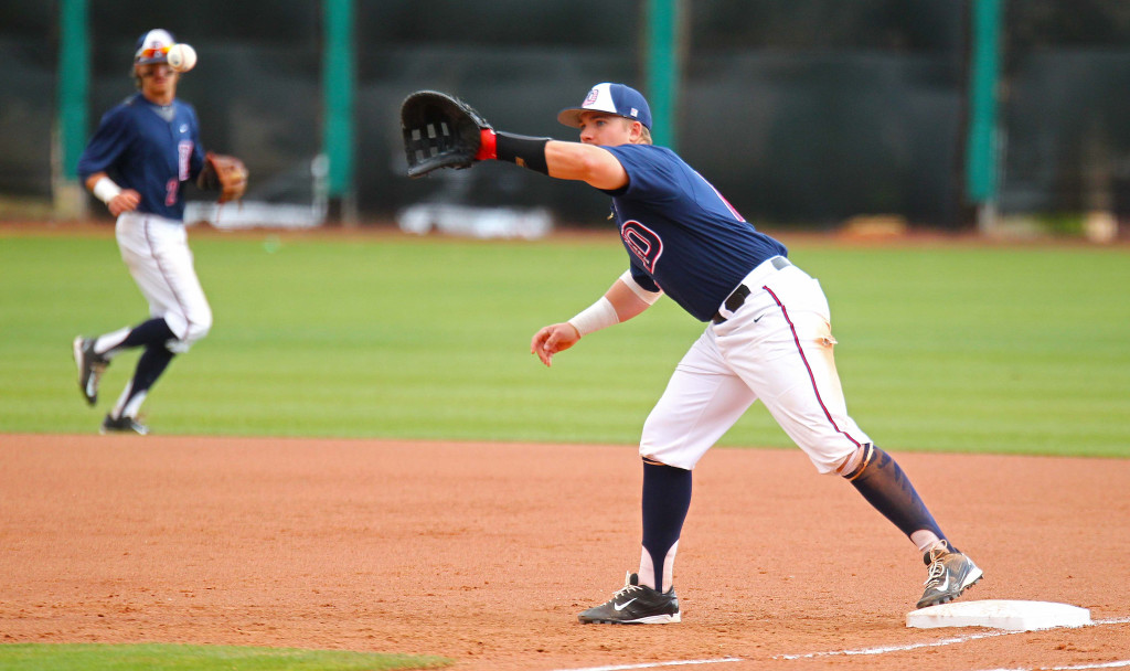 Dixie State's Sam Hall (17) is on fire for the Red Storm, file photo from Dixie State University vs. Hawai'i Hilo University, Baseball, St. George, Utah, Mar. 28, 2016, | Photo by Robert Hoppie, ASPpix.com, St. George News