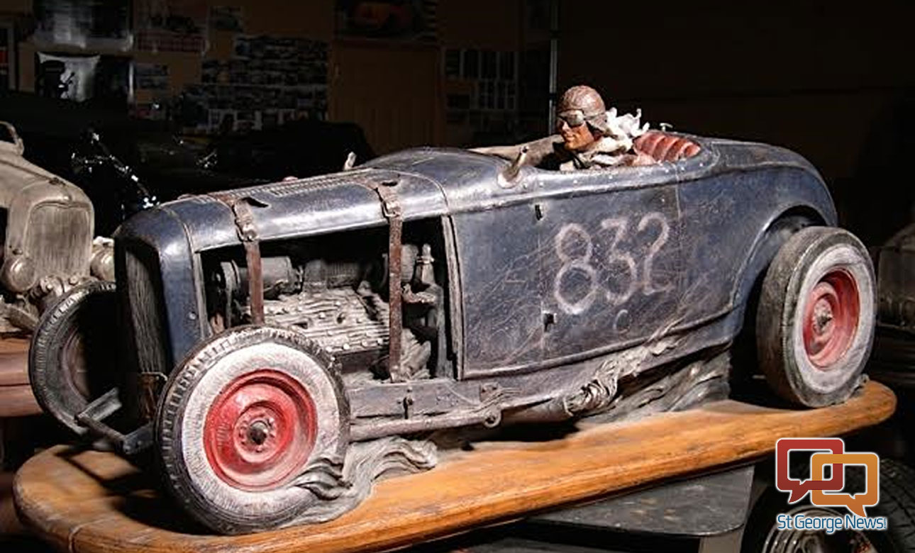 "Stanley Wanlass' piece, ""Flat Out,"" a classic '32 Ford open-wheel racer, barreling towards the finish line, to be installed by April 9, 2016, in the Outdoor Sculpture Exhibit by Art Around the Corner in St. George, Utah 