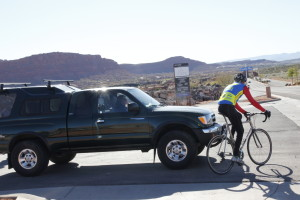 One of the most common kinds of car-bike accidents is a collision between a motorist pulling out of a driveway or side street and a cyclist riding across it on a multi-use path or sidewalk. To prevent such an accident, motorists and cyclists should look out for the other at such intersections, establishing eye contact and clear intentions, Date and location not given | Photo by Tim Tabor, St. George News