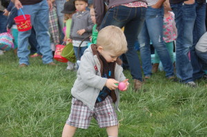 Oliver, 18 months, hunts for eggs at the Staheli Family Farm Easter Egg Hunt, Washington City, Utah, March 12, 2016 | Photo by Hollie Reina, St. George News