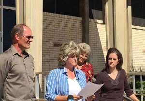LaVoy Finicum's wife, daughter, mother and brother stand on the steps of the Washington County Administration Building for a press conference held by the family in response to findings released by authorities in regards to LaVoy Finicum's death, St. George, Utah, March 8, 2016 | Photo by Kimberly Scott, St. George News