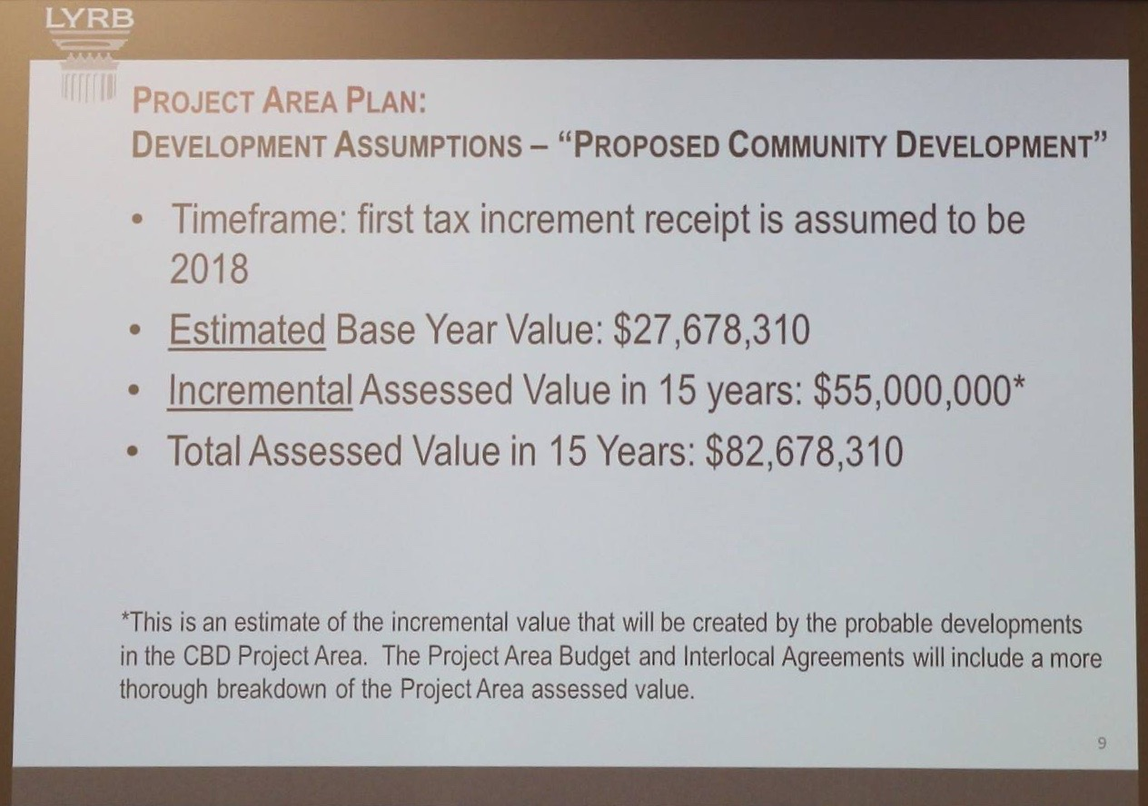 Frame from overhead projection offered at St. George City Council meeting regarding new Community Development Area, St. George City Council Chamber, St. George, Utah, March 3, 2016 | Photo by Mori Kessler, St. George News