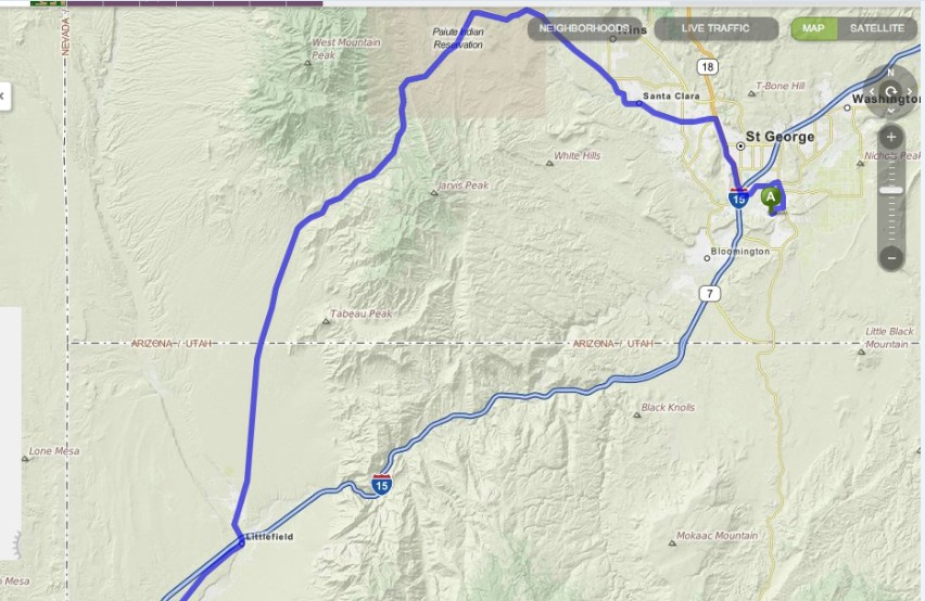 Highway 91 between St. George, Utah, and Littlefield, Arizona | Image from Mapquest.com