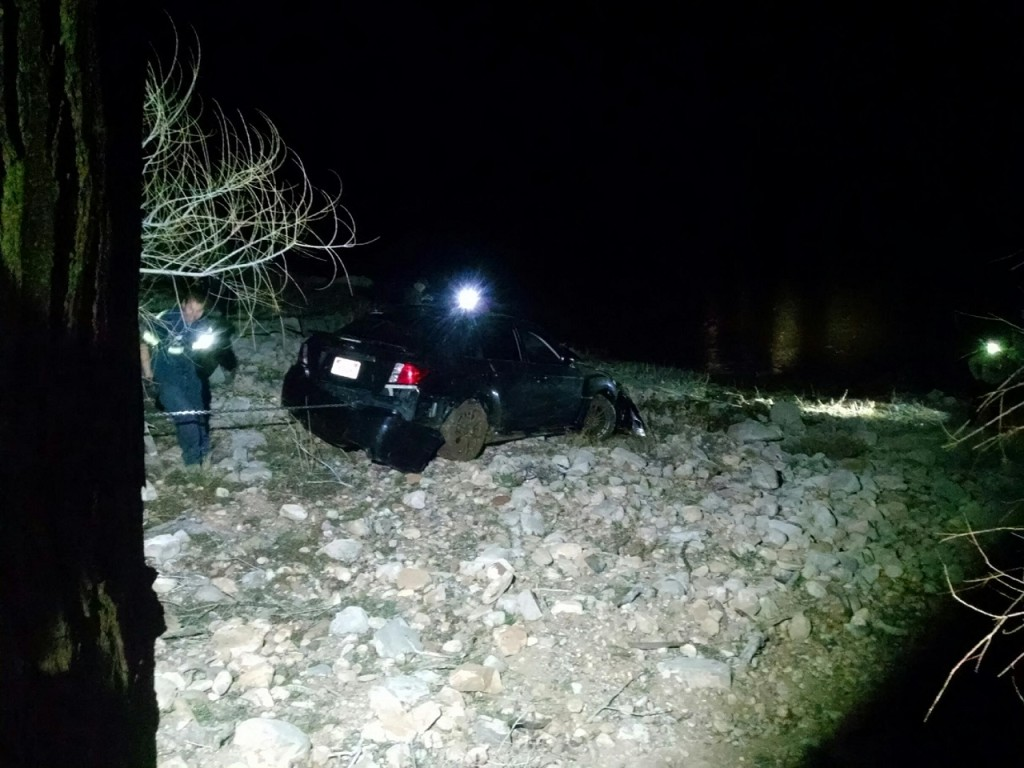 Vehicle after being pulled to the top near the road, Gunlock Reservoir, Utah, March 3, 2016  Photo courtesy of Deputy Darrell Cashin