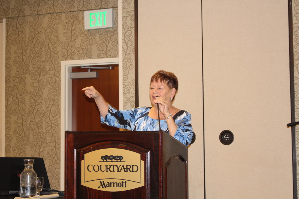 Catholic Thrift Store sole surviving founder Angie Mittleberger speaks at 35th Anniversary Luncheon for Catholic Thrift Store volunteers, Courtyard by Marriott, St. George, Utah, Mar. 21, 2016| Photo by Cody Blowers, St. George News