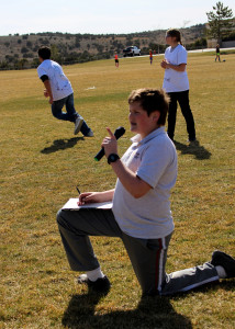 Iron County Prevention Coalition - Youth member Ethan Bates emcees the action during the kickball game, Cedar Middle School, Cedar City, Utah, March 16, 2016 | Photo by Carin Miller, St. George News