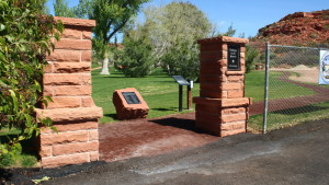 The twin pillars and informational plaque marking the entrance to the Pathway to the Quarry trail in St. George, Utah, Mar. 19, 2016 | Photo by Don Gilman, St. George News