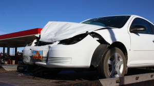 Front end damage on a Chevy Cobalt that was involved in a head-on collision on East Riverside Drive in St. George, Utah, March 25, 2016 | Photo by Don Gilman, St. George News
