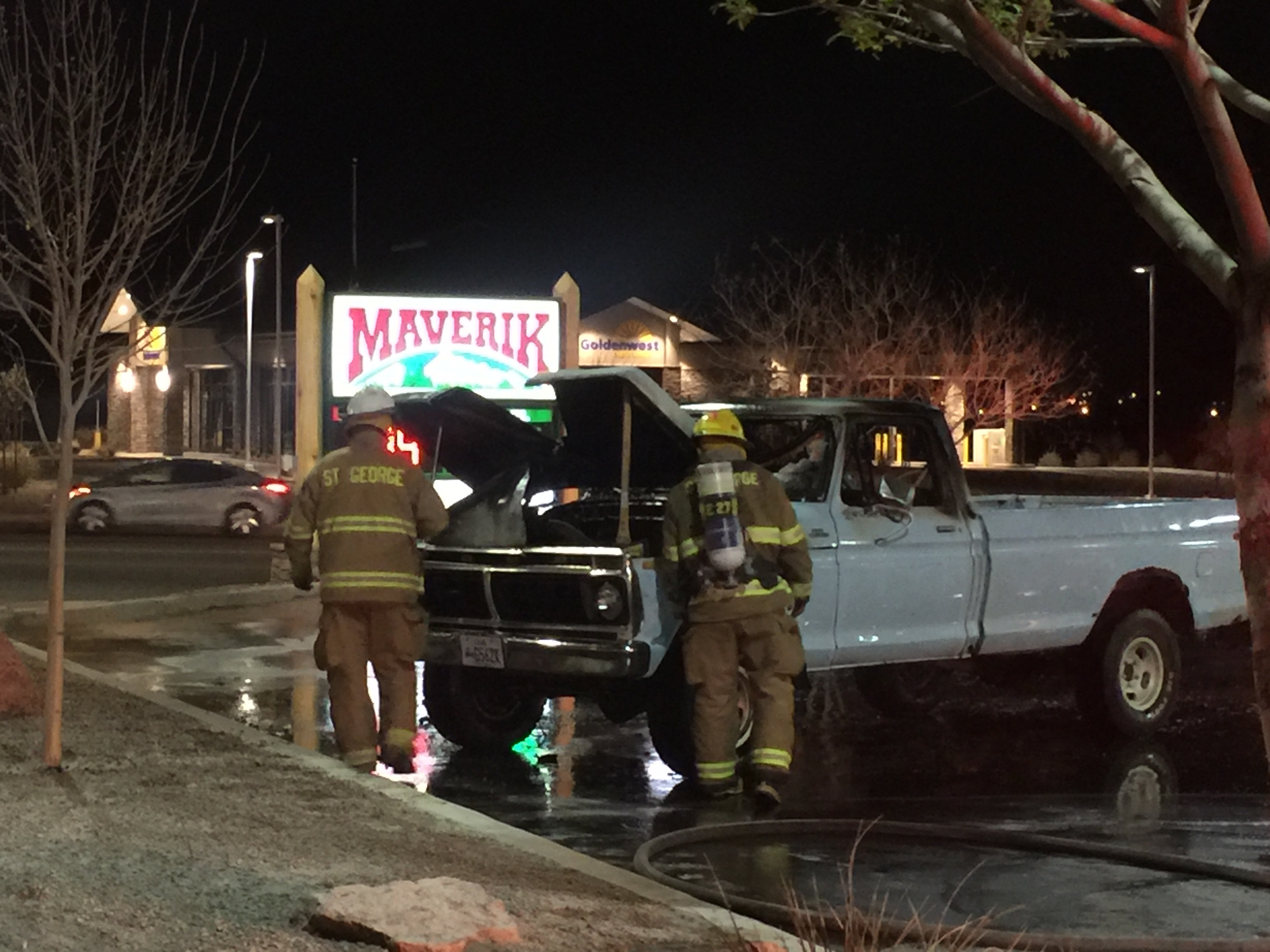 Firefighters extinguishing blaze at Maverik – Adventure's First Stop - convenience store at 2078 E. Riverside Drive, St. George, Utah, March 10 2016 | Photo courtesy of Kinnon Peck, St. George News