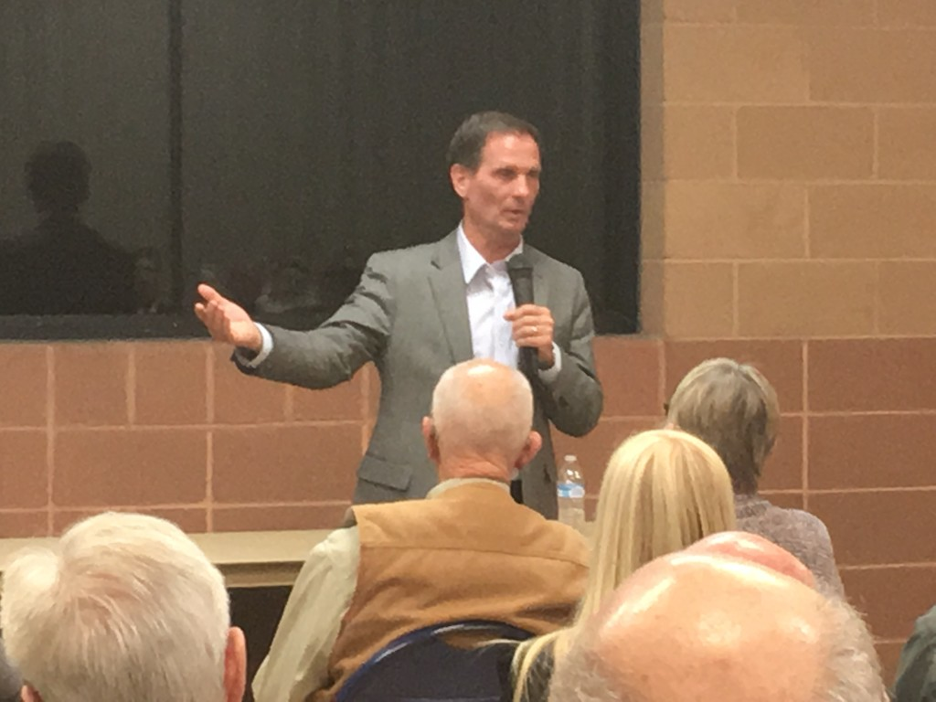 U.S. Congressman Chris Stewart addresses issues surrounding Bundy and the Constitution during a town hall in Cedar City.Cedar City, Utah, March 8, 2016 | Photo by Tracie Sullivan, St. George News