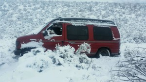 Daniel Michael Brown's van that got stuck in the Kane Springs area Monday night. Iron County, Utah, March 29, 2016   Photo courtesy of Iron County Sheriff's Office, Cedar City News