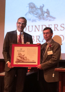 University President Scott L. Wyatt presents Zion National Park Superintendent Jeff Bradybaugh with a distinguished service award for his contributions to the university, Southern Utah University Gilbert Great Hall, Cedar City, Utah, March 23, 2016 | Photo by Carin Miller, St. George News