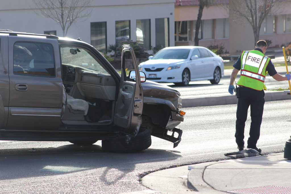 Brown Chevrolet Suburban after collision with GMC on St. George Boulevard, St. George, Utah, March 2, 2016 | Photo by Cody Blowers, St. George News