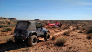 A woman was transported to the hospital via Life Flight after crashing her mountain bike in rugged-terrain near Stucki Springs, Washington County, Utah, March 4, 2016 | Photo courtesy of Washington County Search and Rescue, St. George News