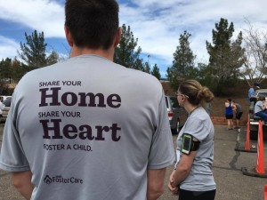 Runners on Team Utah Foster Care wait for their teammate to arrive at the exchange point during the Lake to Lake Relay, St. George, Utah, March 5, 2016 | Photo by Hollie Reina, St. George News