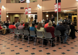 Veterans Center director Caleb Vadnais welcomes attendees to the opening for the Southern Utah University Veterans Resource and Support Center, Cedar City, Utah, March 22, 2016 | Photo by Carin Miller, St. George News