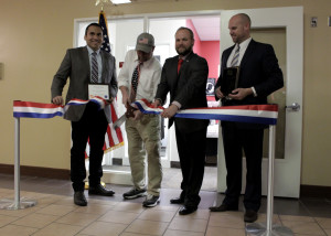 Southern Utah University Student Veterans of America President Gregory Holmes cuts the ribbon, Southern Utah University Veterans Resource and Support Center, Cedar City, Utah, March 22, 2016 | Photo by Carin Miller, St. George News