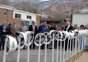 Shovels lined in a row waiting to be turned, Cedar North Elementary, Cedar City, Utah, March 23, 2016 | Photo by Carin Miller, St. George News