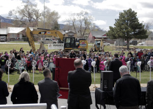 The crowd gathers at Cedar North Elementary for the groudbreaking of the new school building, Cedar North Elementary, Cedar City, Utah, March 23, 2016 | Photo by Carin Miller, St. George News