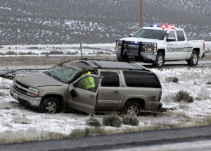Weather related rollovers early Saturday morning sent five people to the hospital and left a sixth dead in Iron County, Utah, March 26, 2016 | Photo by Carin Miller, St. George News