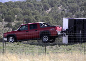 Heavy afternoon winds blew over a trailer being hauled by Chevrolet Avalanche Monday afternoon, Iron County, Utah, March 28, 2016 | Photo by Carin Miller St. George News