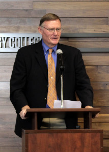 Senator Evan Vickers emotionally recalls the story of a young man who found a future thanks to Southwest Applied Technology College, Cedar City, Utah, March 31, 2016 | Photo by Carin Miller, St. George News