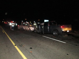 A head-on collision killed a 16-year-old boy and left another person in serious condition along SR-191 at milepost 122, Moab, Utah, Feb. 25, 2016 | Photo courtesy of Utah Highway Patrol, St. George News