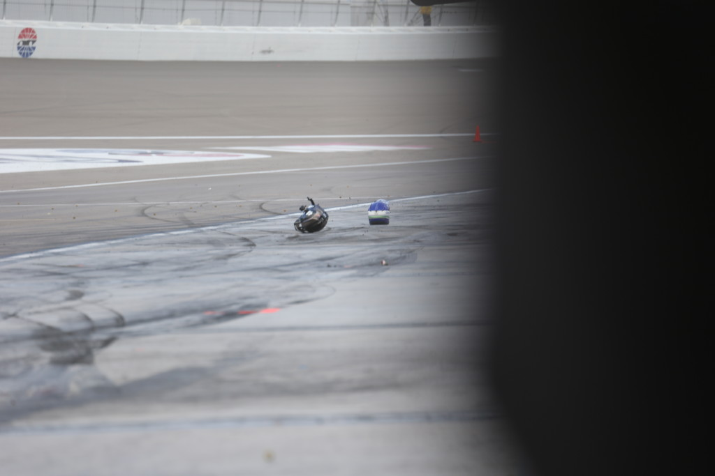 This is a first. The intense winds sent helmets of NASCAR pit crew members chasing after them at the Kobolt 400, Las Vegas, Nev., Mar. 6, 2016. | Photo by Rick Johnson, special to St. George News