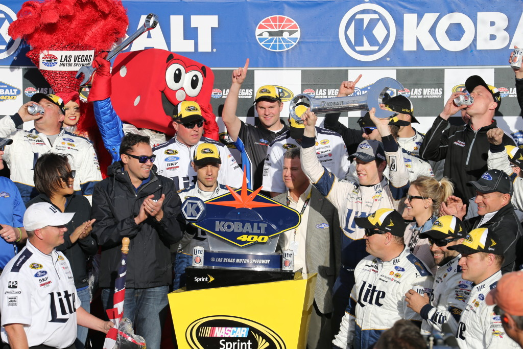 Leading the final five laps was all it took for Brad Keselowski in the #2 Miller Lite Ford to win the March 6th Kobalt 400 at Las Vegas Motor Speedway, Las Vegas, Nev., Mar. 6, 2016. | Photo by Rick Johnson, special to St. George News