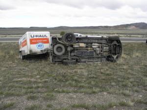 A medical issue caused a rollover accident late Wednesday morning on Interstate 15 near milepost 68, Parowan, Utah, March 23, 2016 | Photo courtesy of Utah Highway Patrol, St. George News