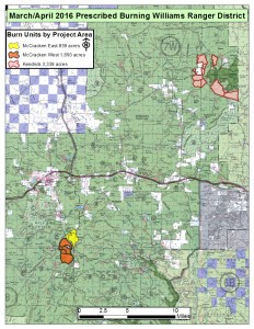 Prescribed burns map for the month of April | Photo courtesy of Kaibab National Forest Services, St. George News