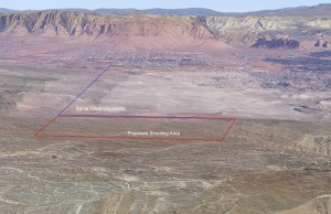 Aerial view of a proposed shooting area near Santa Clara, Utah | Image courtesy of Washington County, St. George News
