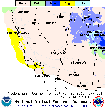 Map indicates predominant weather for Saturday, key at top of map, March 26, 2016 at 8 a.m. | Map courtesy of National Weather Service, St. George News