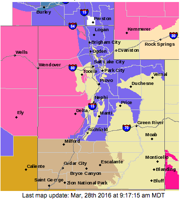 Areas subject to alerts and advisories. Pink for winter storm warning; purple for winter weather advisory; putty for hazardous weather outlook (covered by attached report); buff for special weather statement; tan for wind advisory; ochre for high wind warning. March 28, 2016, 9:17 a.m. | Map courtesy of National Weather Service, St. George News