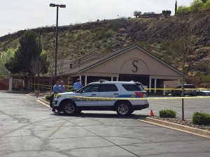 A man was found dead on the Spilsbury Mortuary lawn with what police said appeared to be a self-inflicted gunshot wound to the head, St. George, Utah, March 7, 2016 | Photo by Kimberly Scott, St. George News