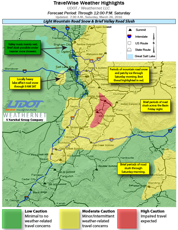 Travelwise weather highlights from UDOT for Saturday through noon, Utah, March 26, 2016 | Image courtesy of Utah Department of Transportation, St. George News