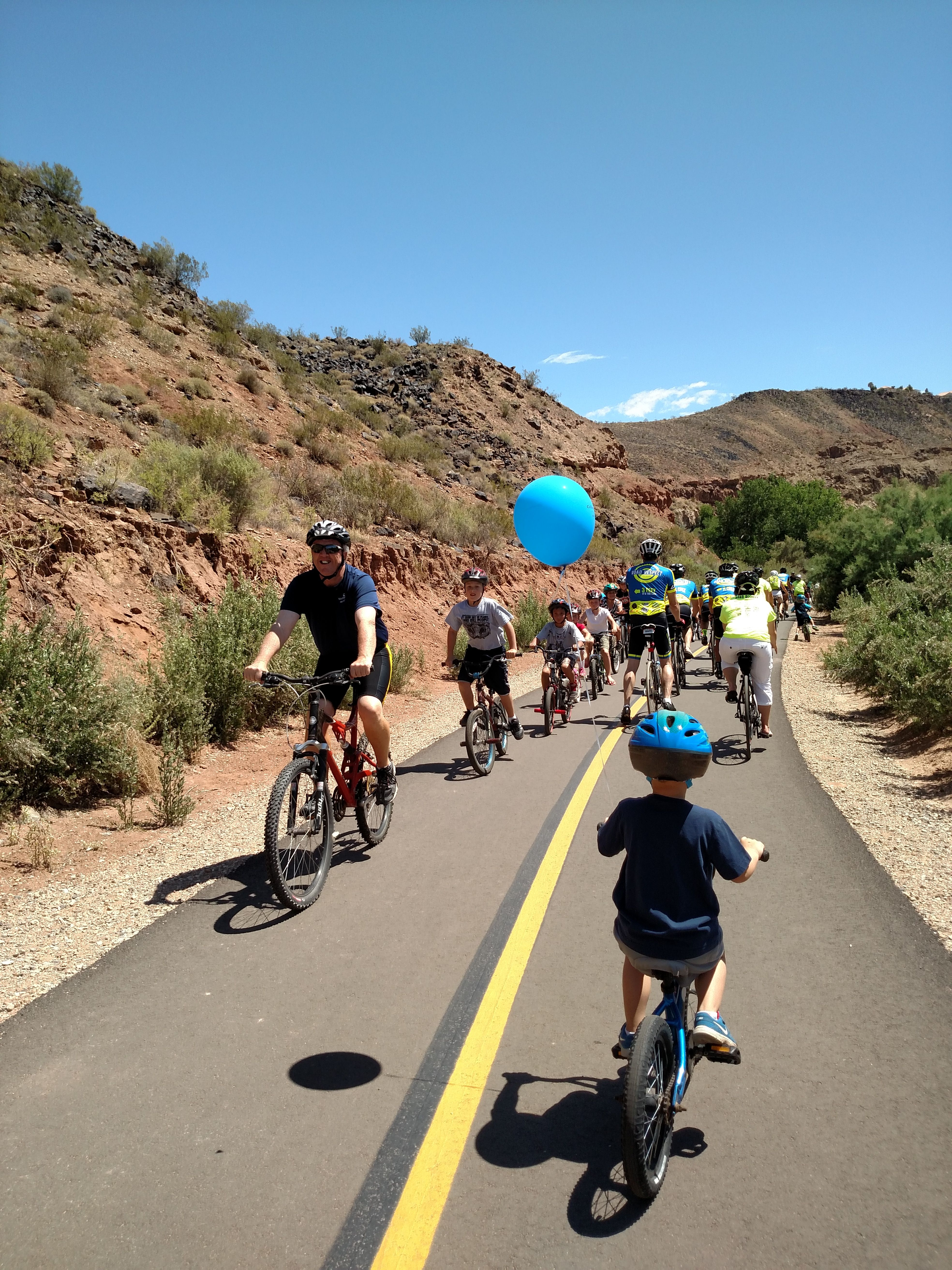 Washington City Mayor Ken Nielson leading the Road Respect kids' ride along the new Virgin River Boardwalk Trail, Washington, Utah, Date not given | Photo courtesy of Kai Reed, St. George News