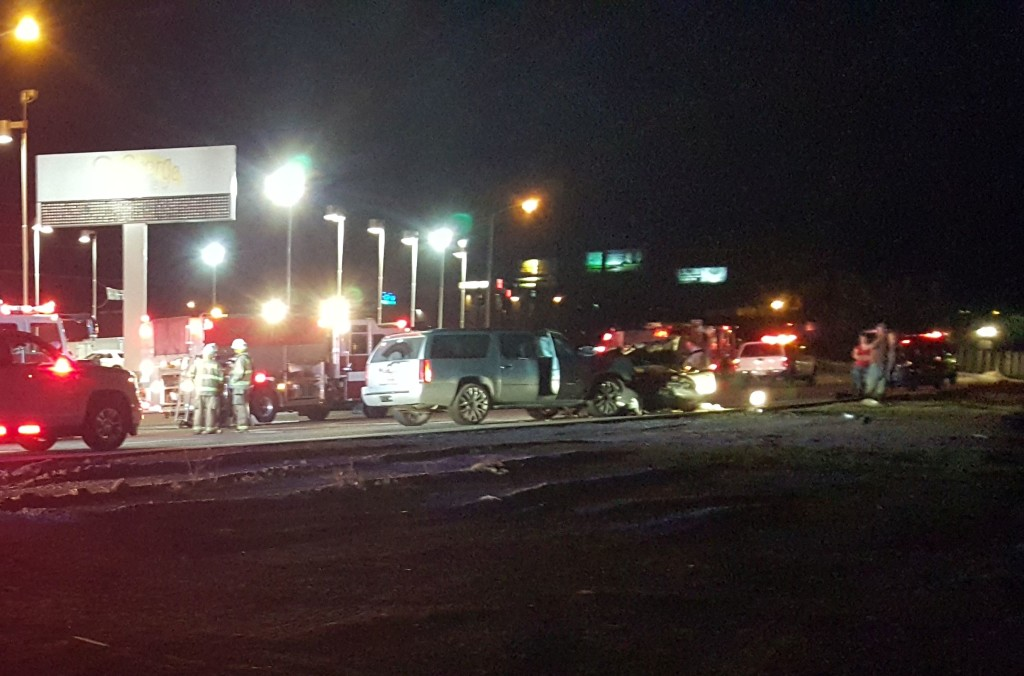 A head on collision on Red Hills Parkway Wednesday night severely injured one and sent two others to the hospital. St. George, Utah, March 2, 2016 | Photo by Austin Peck, St. George News