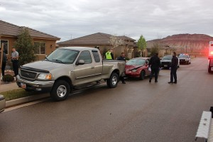 An accident in Washington Sunday morning damaged two cars but caused no injuries, Washington, Utah, March 6, 2016 | Photo by Ric Wayman, St. George News