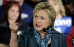 Democratic presidential candidate Hillary Clinton speaks during a campaign event at the Boeing Machinists' union hall in Everett, Washingotn, March 22, 2016 | AP Photo/Elaine Thompson, St. George News