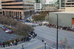 People wait in line for the county-wide Democratic caucus in Boise, Idaho, Tuesday, March 22, 2016. | AP Photo/Otto Kitsinger, St. George News
